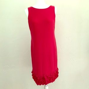 Taylor Hot Pink Shift Dress with Ruffle Bottom!